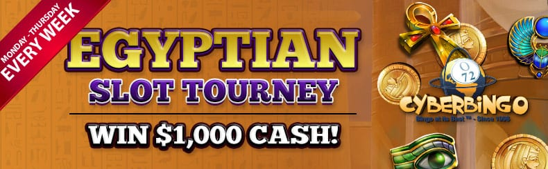 yummy 1000 cash prizes in cyberbingos egyptian slot tourney